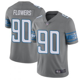 Wholesale Cheap Nike Lions #90 Trey Flowers Gray Men\'s Stitched NFL Limited Rush Jersey
