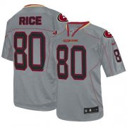 Wholesale Cheap Nike 49ers #80 Jerry Rice Lights Out Grey Men's Stitched NFL Elite Jersey