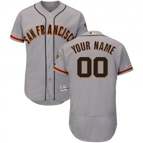 Wholesale Cheap San Francisco Giants Majestic Road Flex Base Authentic Collection Custom Jersey Gray