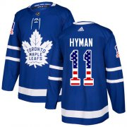 Wholesale Cheap Adidas Maple Leafs #11 Zach Hyman Blue Home Authentic USA Flag Stitched NHL Jersey
