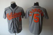 Wholesale Cheap Mitchell and Ness Orioles #5 Brooks Robinson Grey Stitched Throwback MLB Jersey