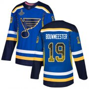 Wholesale Cheap Adidas Blues #19 Jay Bouwmeester Blue Home Authentic Drift Fashion Stanley Cup Champions Stitched NHL Jersey