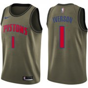 Wholesale Cheap Nike Pistons #1 Allen Iverson Green Salute to Service NBA Swingman Jersey