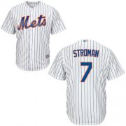 Wholesale Cheap Mets #7 Marcus Stroman White(Blue Strip) New Cool Base Stitched MLB Jersey