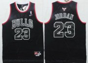 Wholesale Cheap Men's Chicago Bulls #23 Michael Jordan All Black With White Outline Soul Swingman Jersey