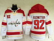 Wholesale Cheap Capitals #92 Evgeny Kuznetsov White Sawyer Hooded Sweatshirt Stitched NHL Jersey
