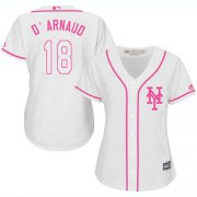 Wholesale Cheap Mets #18 Travis d'Arnaud White/Pink Fashion Women's Stitched MLB Jersey