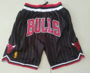 Wholesale Cheap Chicago Bulls Black With Red Pinstripe 1997-98 Swingman Throwback Just Don Shorts