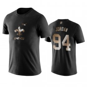 Wholesale Cheap Saints #94 Cameron Jordan Black NFL Black Golden 100th Season T-Shirts
