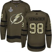 Cheap Adidas Lightning #98 Mikhail Sergachev Green Salute to Service Youth 2020 Stanley Cup Champions Stitched NHL Jersey