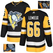 Wholesale Cheap Adidas Penguins #66 Mario Lemieux Black Home Authentic Fashion Gold Stitched NHL Jersey