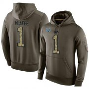 Wholesale Cheap NFL Men's Nike Indianapolis Colts #1 Pat McAfee Stitched Green Olive Salute To Service KO Performance Hoodie