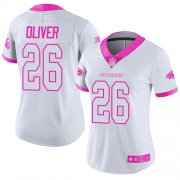 Wholesale Cheap Nike Falcons #26 Isaiah Oliver White/Pink Women's Stitched NFL Limited Rush Fashion Jersey