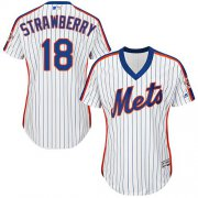 Wholesale Cheap Mets #18 Darryl Strawberry White(Blue Strip) Alternate Women's Stitched MLB Jersey