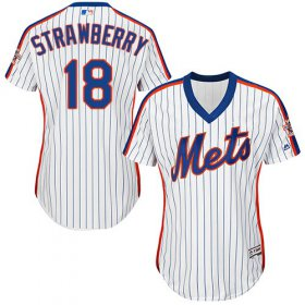 Wholesale Cheap Mets #18 Darryl Strawberry White(Blue Strip) Alternate Women\'s Stitched MLB Jersey