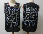 Wholesale Cheap Men's Chicago Bulls #23 Michael Jordan Black Hardwood Classics Throwback Limited Jersey