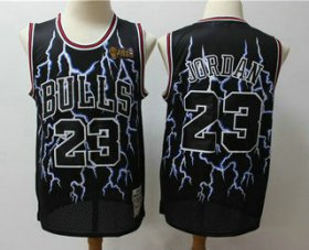 Wholesale Cheap Men\'s Chicago Bulls #23 Michael Jordan Black Hardwood Classics Throwback Limited Jersey