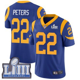 Wholesale Cheap Nike Rams #22 Marcus Peters Royal Blue Alternate Super Bowl LIII Bound Youth Stitched NFL Vapor Untouchable Limited Jersey