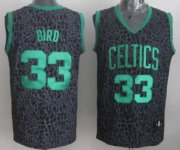 Wholesale Cheap Boston Celtics #33 Larry Bird Black Leopard Print Fashion Jersey