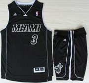 Wholesale Cheap Miami Heat 3 Dwyane Wade Black With White Shadow Revolution 30 Jerseys Shorts NBA Suits
