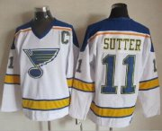 Wholesale Cheap Blues #11 Brian Sutter White/Yellow CCM Throwback Stitched NHL Jersey