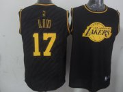 Wholesale Cheap Los Angeles Lakers #17 Jeremy Lin Revolution 30 Swingman 2014 Black With Gold Jersey