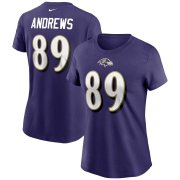 Wholesale Cheap Baltimore Ravens #89 Mark Andrews Nike Women's Team Player Name & Number T-Shirt Purple