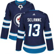 Wholesale Cheap Adidas Jets #13 Teemu Selanne Navy Blue Home Authentic Women's Stitched NHL Jersey