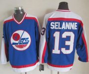 Wholesale Jets #13 Teemu Selanne Blue/White CCM Throwback Stitched NHL Jersey