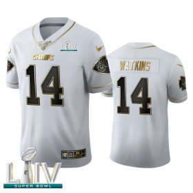 Wholesale Cheap Kansas City Chiefs #14 Sammy Watkins Men\'s Nike White Golden Super Bowl LIV 2020 Edition Vapor Limited NFL 100 Jersey