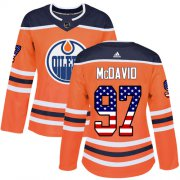 Wholesale Cheap Adidas Oilers #97 Connor McDavid Orange Home Authentic USA Flag Women's Stitched NHL Jersey