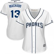 Wholesale Cheap Padres #13 Manny Machado White Home Women's Stitched MLB Jersey