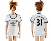 Wholesale Cheap Women's Manchester United #31 Schweinsteiger Sec Away Soccer Club Jersey