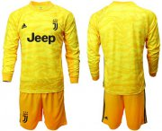 Wholesale Cheap Juventus Blank Yellow Goalkeeper Long Sleeves Soccer Club Jersey