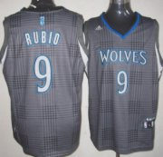 Wholesale Cheap Minnesota Timberwolves #9 Ricky Rubio Black Rhythm Fashion Jersey