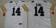 Wholesale Cheap Men's Iowa Hawkeyes #14 Desmond King White Limited Stitched College Football Nike NCAA Jersey