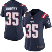 Wholesale Cheap Nike Patriots #35 Kyle Dugger Navy Blue Women's Stitched NFL Limited Rush Jersey
