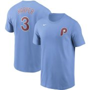 Wholesale Cheap Philadelphia Phillies #3 Bryce Harper Nike Name & Number T-Shirt Light Blue