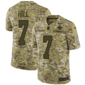Wholesale Cheap Nike Saints #7 Taysom Hill Camo Men\'s Stitched NFL Limited 2018 Salute To Service Jersey