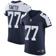Wholesale Cheap Nike Cowboys #77 Tyron Smith Navy Blue Thanksgiving Men's Stitched NFL Vapor Untouchable Throwback Elite Jersey