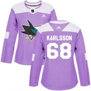 Wholesale Cheap Adidas Sharks #68 Melker Karlsson Purple Authentic Fights Cancer Women's Stitched NHL Jersey