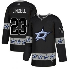 Cheap Adidas Stars #23 Esa Lindell Black Authentic Team Logo Fashion Stitched NHL Jersey