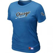 Wholesale Cheap Women's Chicago White Sox Nike Away Practice MLB T-Shirt Indigo Blue
