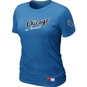 Wholesale Cheap Women\'s Chicago White Sox Nike Away Practice MLB T-Shirt Indigo Blue