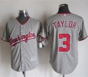 Wholesale Cheap Nationals #3 Michael Taylor Grey New Cool Base Stitched MLB Jersey