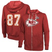 Wholesale Cheap Men's Kansas City Chiefs #87 Travis Kelce NFL Red Super Bowl LIV Bound Player Name & Number Full-Zip Hoodie