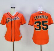 Wholesale Cheap Giants #35 Brandon Crawford Orange Women's Alternate Stitched MLB Jersey