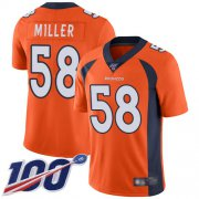 Wholesale Cheap Nike Broncos #58 Von Miller Orange Team Color Men's Stitched NFL 100th Season Vapor Limited Jersey