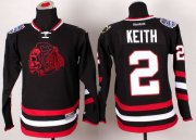 Wholesale Cheap Blackhawks #2 Duncan Keith Black(Red Skull) 2014 Stadium Series Stitched Youth NHL Jersey