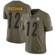 Wholesale Cheap Nike Steelers #12 Terry Bradshaw Olive Youth Stitched NFL Limited 2017 Salute to Service Jersey